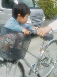 自転車の籠に